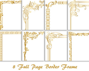 8 Gold Digital Full Page Bord - Gold Frame Clipart