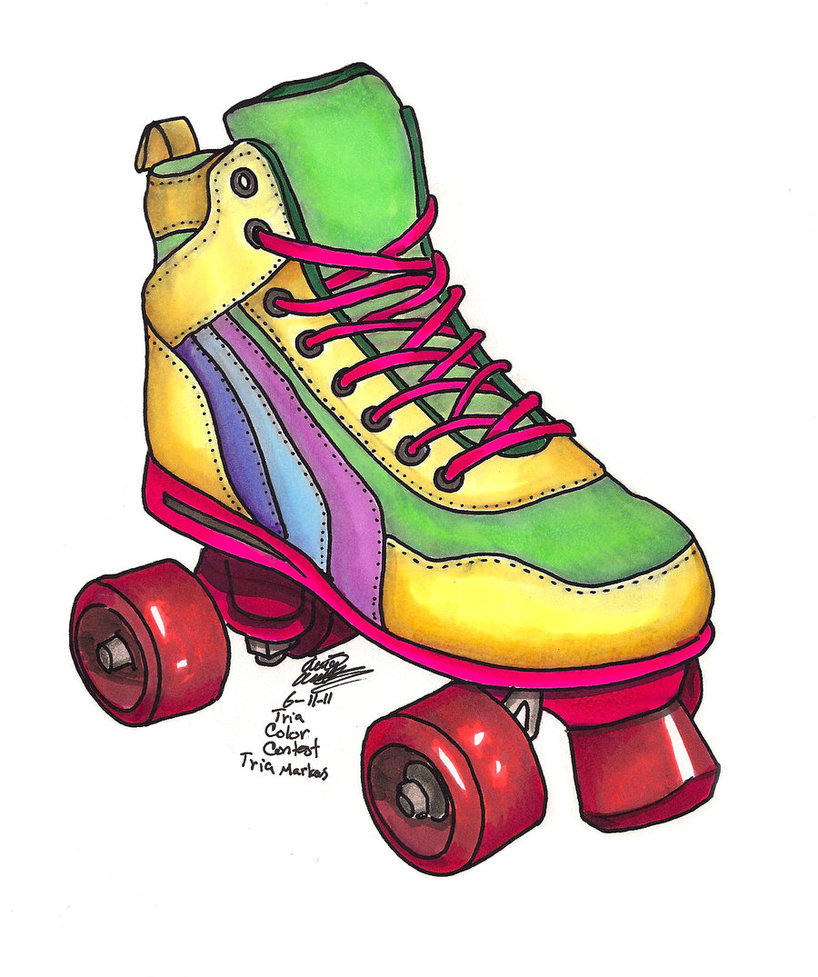 80s Roller Skating Clipart .