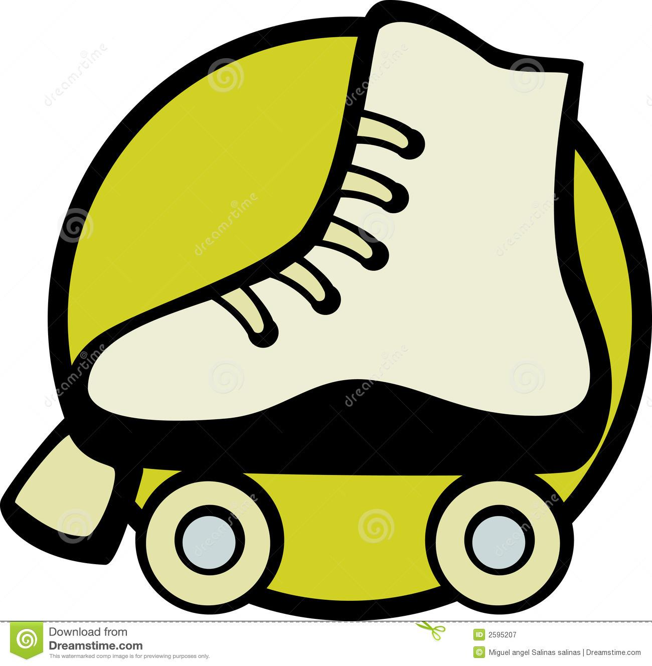 80s Roller Skating Clipart . Roller skate vector illustration Royalty Free Stock Photography