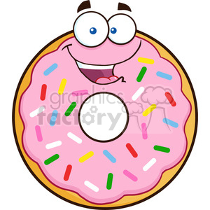 8665 Royalty Free RF Clipart Illustration Happy Donut Cartoon Character  With Sprinkles Vector Illustration Isolated On