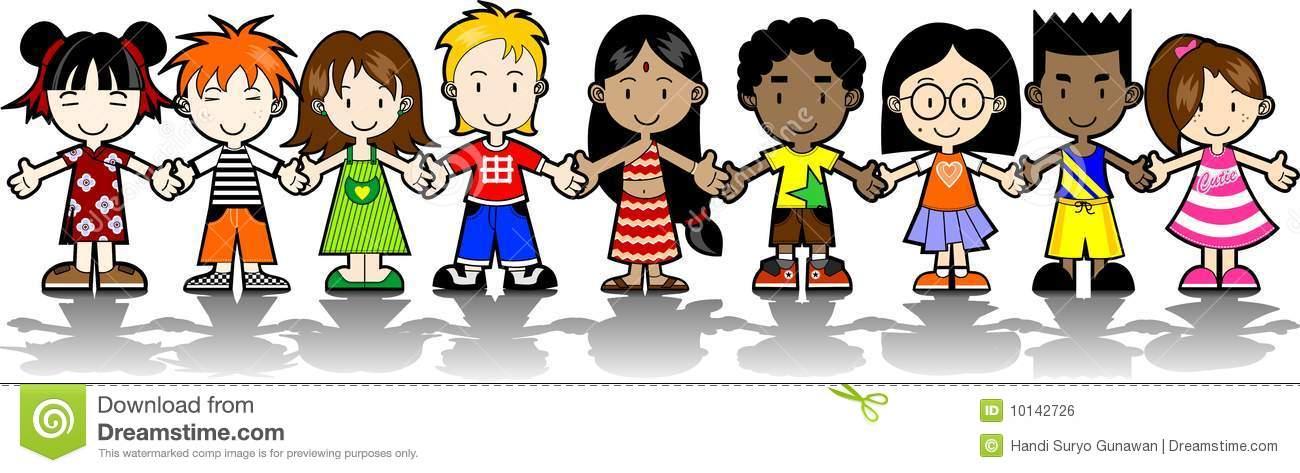 9 Kids holding hands