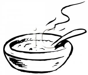 A Black and White Bowl of Soup - Clipart