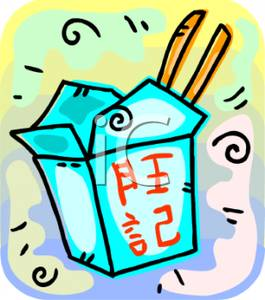 A Box of Chinese Food Clipart Image