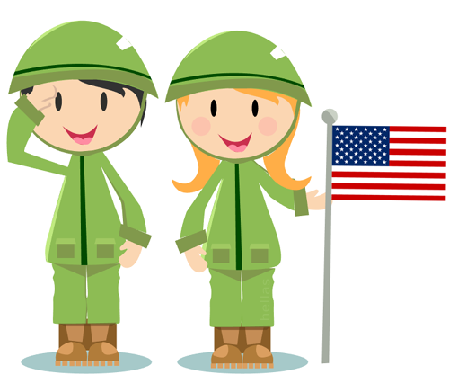 A boy and a girl in uniforms saluting the US troops memorial day clipart image.
