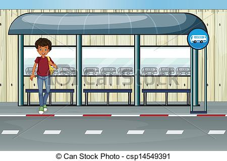 ... A boy at the bus stop - Illustration of a boy at the bus.