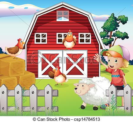 ... A boy at the farmhouse with animals -... A boy at the farmhouse with animals - Illustration of a boy.-4