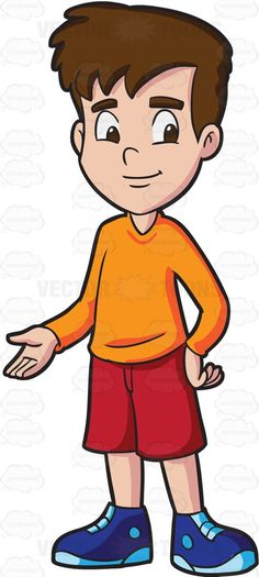 A boy with brown hair and fair skin, wea-A boy with brown hair and fair skin, wearing an orange sweatshirt, red shorts and blue rubber shoes, smirks while standing tall-9