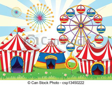 A carnival with stripe tents .