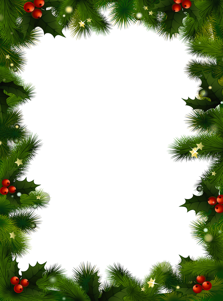 A Christmas border with evergreen and be-A Christmas border with evergreen and berries.-19