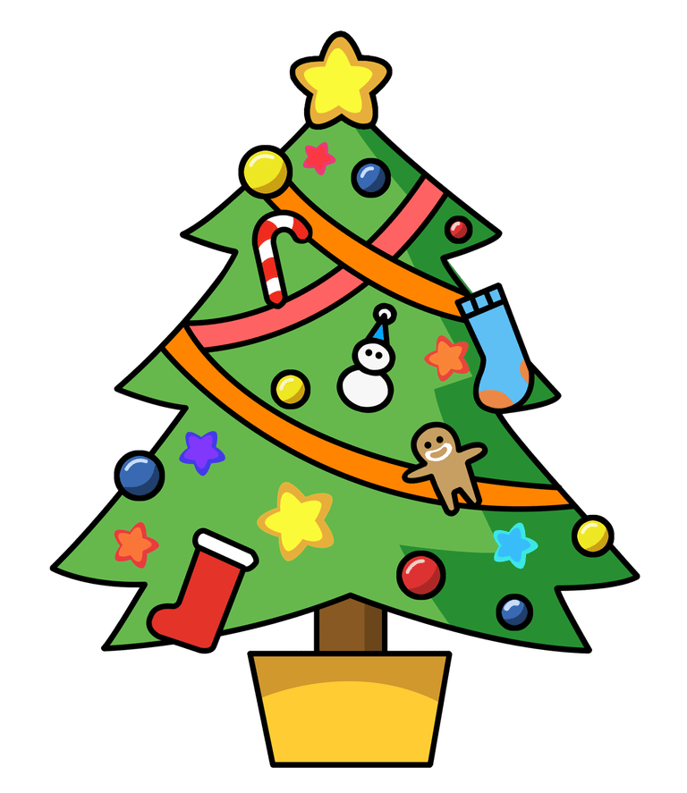 A Christmas Tree Decorated With Homemade-A Christmas tree decorated with homemade ornaments. Clipart Panda-1