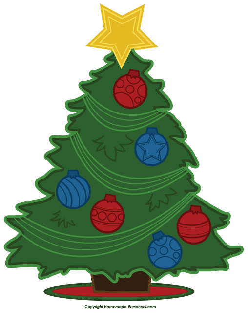 A Christmas tree with blue and red bulbs. Clipart Planet