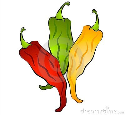 A clip art illustration of an isolated b-A clip art illustration of an isolated bunch of hot chili peppers in green, yellow and red.-9