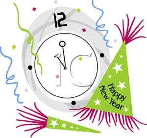 A clock at midnight on new years eve cliparts