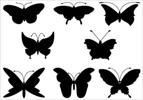 A collection of eight butterf - Butterfly Silhouette Clip Art
