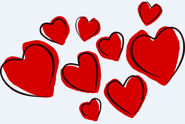A collection of red heart ske - Valentines Day Clipart