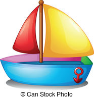 ... A Colorful Boat - Illustration Of A -... A colorful boat - Illustration of a colorful boat on a white.-1