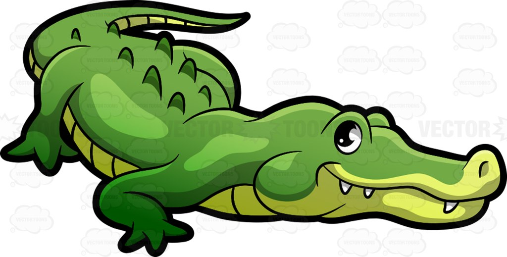 A crocodile at the zoo vector clip art cartoon