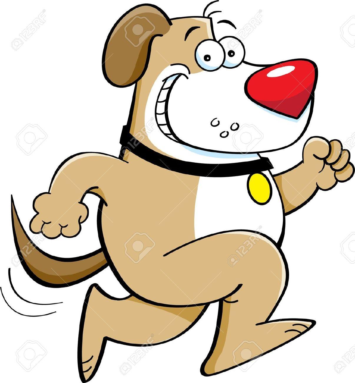 a dog running Stock Vector .