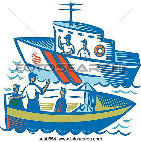 A family traveling by boat talking to me-A family traveling by boat talking to members of the coast guard-15