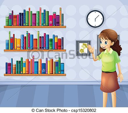 ... A female librarian inside the library - Illustration of a.