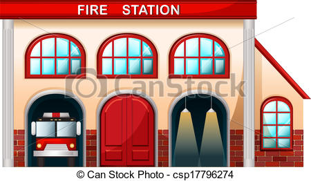 ... A fire station building - Illustration of a fire station.