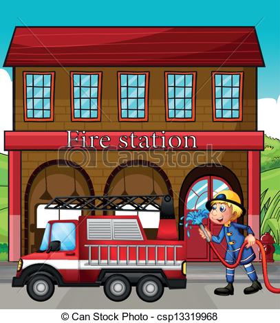 ... A fireman and a fire truck in front of the fire station -.