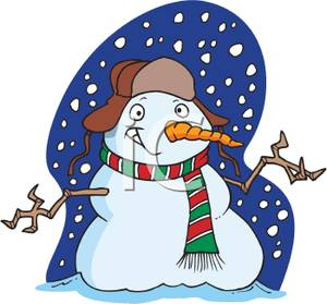 A Grinning Snowman In a Snows - Snowstorm Clipart