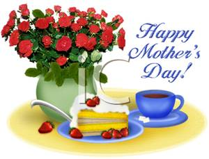 A Happy Motheru0026#39;s Day Bouquet with Tea and Cake - Royalty Free Clipart Picture