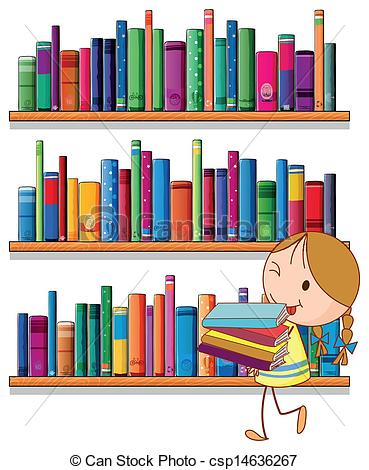 ... A little girl in the library - Illustration of a little girl.