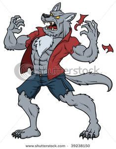 A Man Transformed Into a Werewolf - Clipart