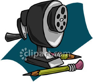 A Manual Pencil Sharpener and Pencils Royalty Free Clipart Picture