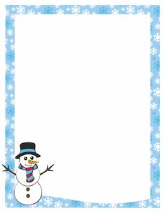 A page border featuring a snowman and a snowflake border. Free downloads at  http: