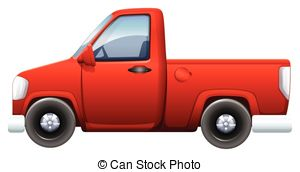 ... A red pickup vehicle on a white background