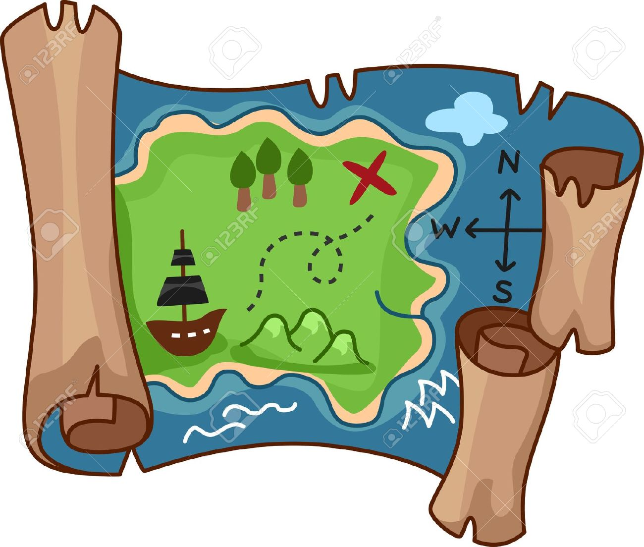 A Scroll Treasure Map By Free Rf Clipart-A scroll treasure map by free rf clipart-0