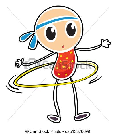 ... A sketch of a child playi - Hula Hoop Clip Art