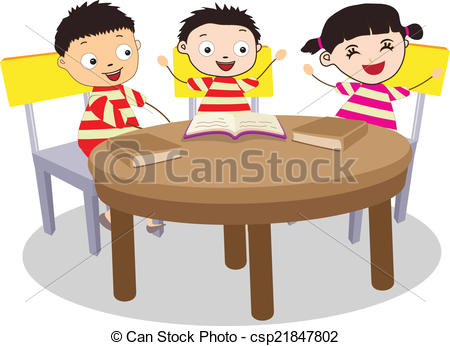 A Small Group of Kids Open Book - csp21847802