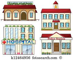 A train station, a school, a police station and a hospital