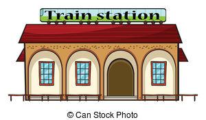 ... A train station - Illustration of a -... A train station - Illustration of a train station on a white.-3