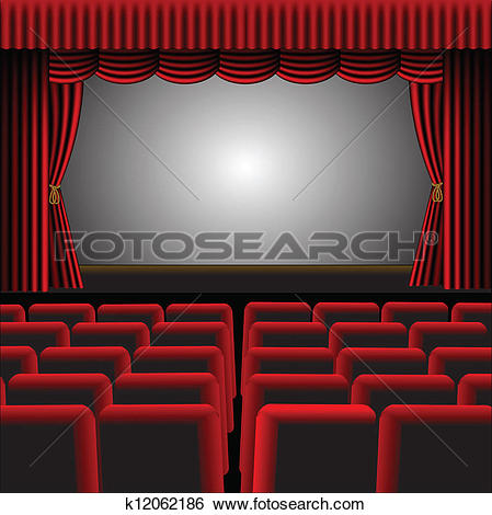 A Vector Illustration Of A Cinema Or The-A vector illustration of a cinema or theatre with red upholstery and fittings, with a screen and room for text-1