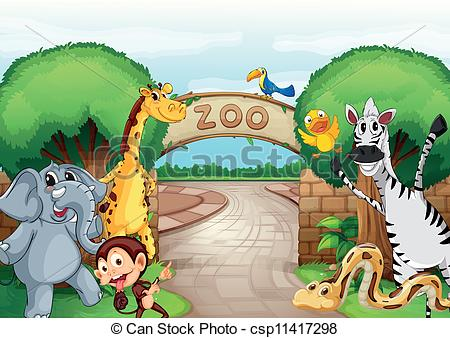 ... a zoo and the animals - illustration of a zoo and the... ...