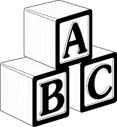 Abc Blocks Clipart Black And . .