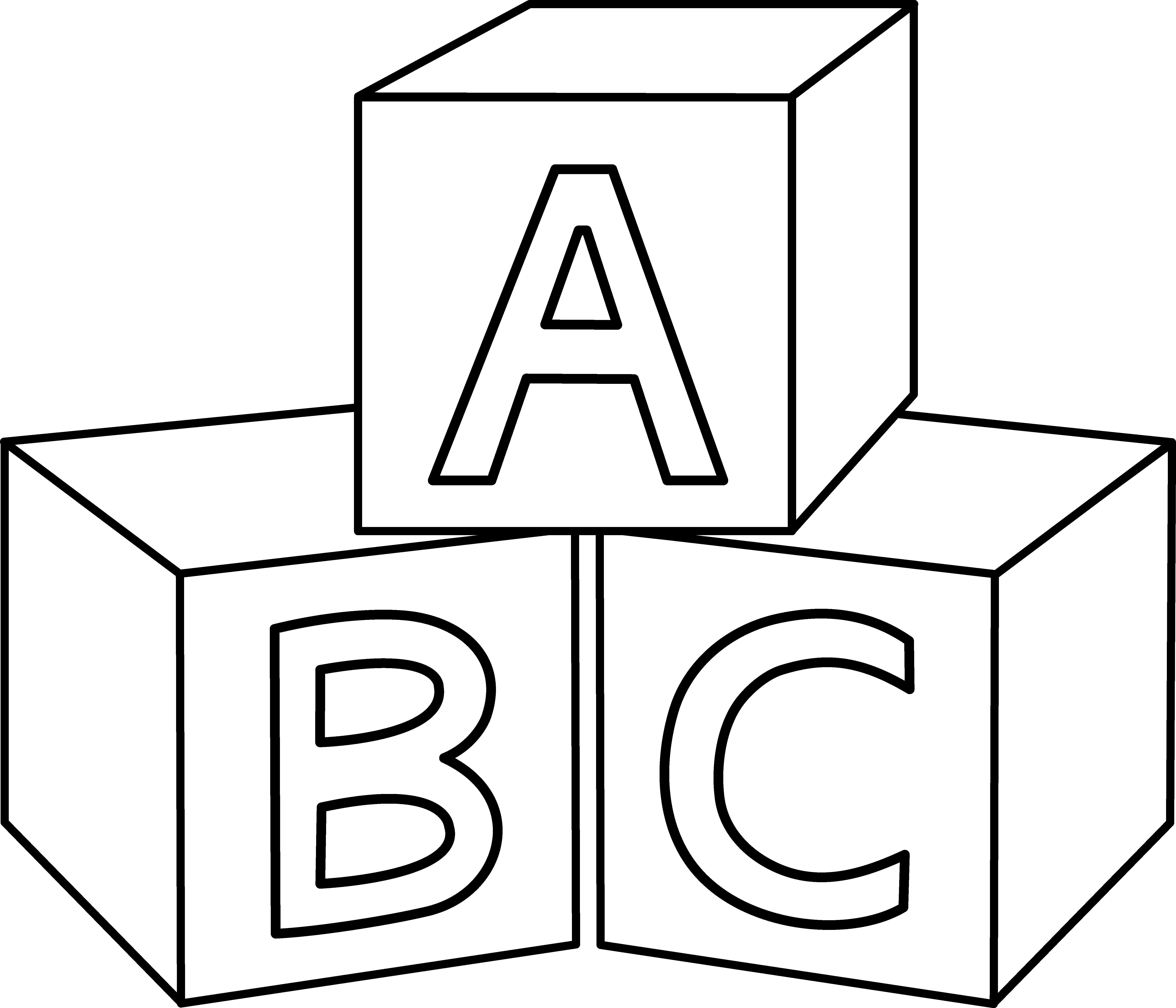 ABC Blocks Coloring Page - Abc Blocks Clip Art