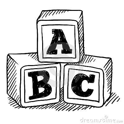 abc blocks clipart black and