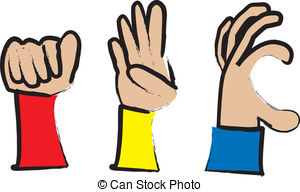 ... ABC Sign Language - simple cartoon drawing of hands making.