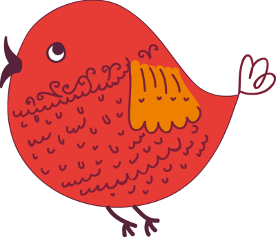 Abstract Cute Red Bird - Free - Cute Bird Clipart