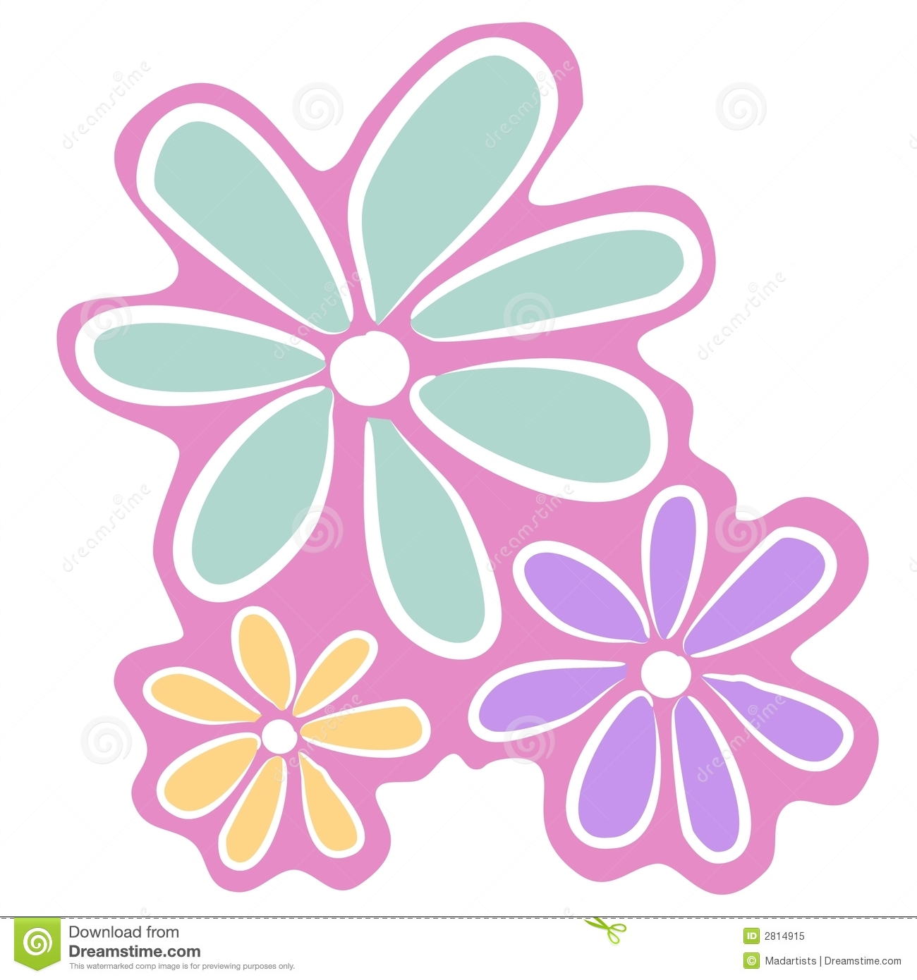 Abstract Pink Flowers Clip Art