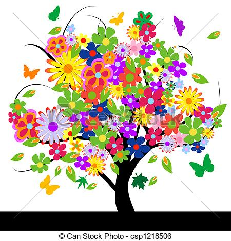 ... Abstract Tree With Flowers Vector Il-... Abstract tree with flowers vector illustration-1
