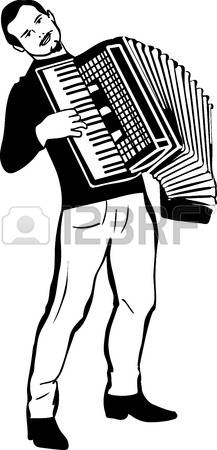 black and white sketch of a man playing the accordion