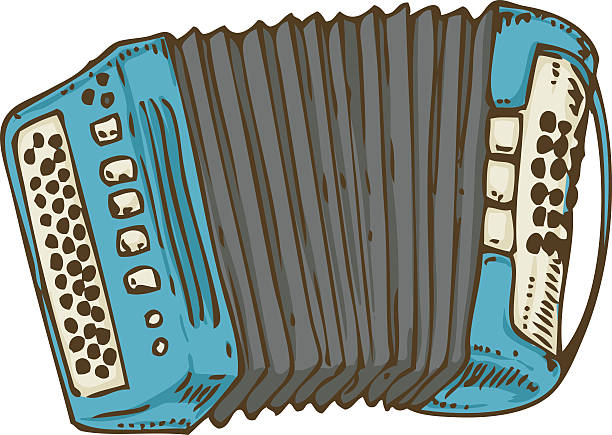 Blue Russian Bayan or Accordion vector art illustration