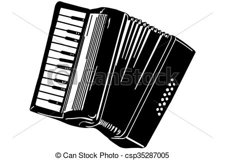 sketch of a musical instrument accordion - csp35287005